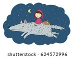 little red riding hood fairy...   Shutterstock .eps vector #624572996