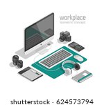 flat isometric 3d technology... | Shutterstock .eps vector #624573794