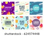 memphis style 6 cards set.... | Shutterstock .eps vector #624574448