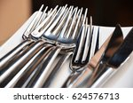silver cutlery close up
