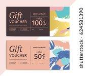 trendy abstract gift voucher... | Shutterstock .eps vector #624581390