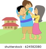 family cartoon  | Shutterstock .eps vector #624582080