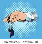 men's hand in a plaid shirt... | Shutterstock .eps vector #624586340