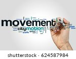 Small photo of Movement word cloud concept on grey background