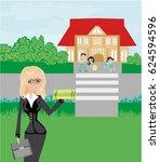 happy kids go to school  | Shutterstock . vector #624594596