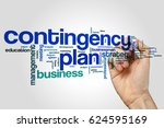 Small photo of Contingency plan word cloud concept on grey background.