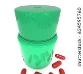green plastic bottle of pills.... | Shutterstock . vector #624595760