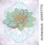 hand drawn beautiful boho lotus ... | Shutterstock .eps vector #624597770