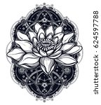 hand drawn beautiful boho lotus ... | Shutterstock .eps vector #624597788