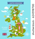 a map of the united kingdom... | Shutterstock .eps vector #624598700