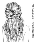 women with cute messy hairstyles | Shutterstock .eps vector #624599816