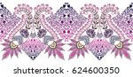 seamless wide border with... | Shutterstock .eps vector #624600350