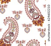 seamless pattern  with paisley  ... | Shutterstock .eps vector #624602210