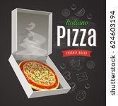 hot and fresh pizza in open box ... | Shutterstock .eps vector #624603194