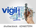 vigil word cloud on grey... | Shutterstock . vector #624607094