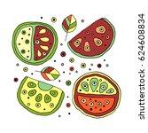 set of vector hand drawn... | Shutterstock .eps vector #624608834