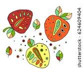 set of vector hand drawn... | Shutterstock .eps vector #624609404