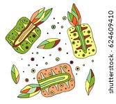 set of vector hand drawn... | Shutterstock .eps vector #624609410