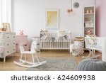 baby room in scandinavian style ... | Shutterstock . vector #624609938