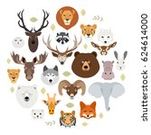 big animal face icon set.... | Shutterstock .eps vector #624614000