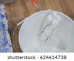 paint roller and white color in ... | Shutterstock . vector #624614738