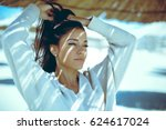 portrait of a young beautiful... | Shutterstock . vector #624617024