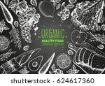 healthy food frame vector... | Shutterstock .eps vector #624617360