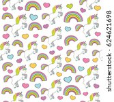 seamless baby pattern with cute ... | Shutterstock .eps vector #624621698