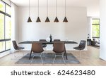 modern dining room decorate... | Shutterstock . vector #624623480