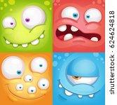 cartoon monster faces | Shutterstock .eps vector #624624818