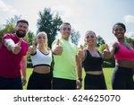 we love sport  group of happy... | Shutterstock . vector #624625070