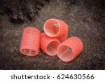 large round red curlers on the... | Shutterstock . vector #624630566