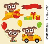 set isolated funny puppy in... | Shutterstock .eps vector #624632954