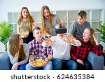 group of friends playing with vr | Shutterstock . vector #624635384