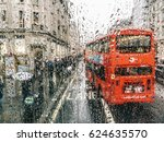 raining in london on the double ... | Shutterstock . vector #624635570