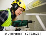 young female construction... | Shutterstock . vector #624636284