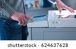 assistant makes copies of files ... | Shutterstock . vector #624637628