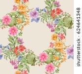 circles of flowers. seamless... | Shutterstock . vector #624641348