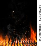 empty flaming charcoal grill... | Shutterstock . vector #624646259