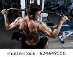 fitness man with a naked torso... | Shutterstock . vector #624649550