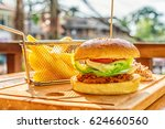 craft burger with beef  green... | Shutterstock . vector #624660560