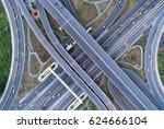 road beautiful aerial view top... | Shutterstock . vector #624666104