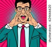 wow pop art man. young... | Shutterstock .eps vector #624666620