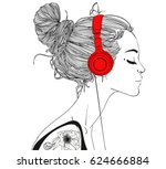 beautiful girl with headphones | Shutterstock .eps vector #624666884