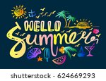 lettering hello summer on a... | Shutterstock .eps vector #624669293