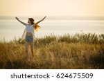 young pretty woman wearing hat... | Shutterstock . vector #624675509