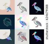 set of pelican logos. abstract... | Shutterstock .eps vector #624679088