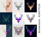 set of deer logos. abstract... | Shutterstock .eps vector #624679124