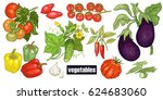 various vegetables set.... | Shutterstock .eps vector #624683060