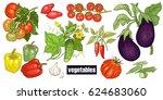 various vegetables set.... | Shutterstock .eps vector #624683060